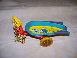 Wyandotte Toys Made In U.s.a. Antique Tin Rabbit Pulling Happy Easter Wagon