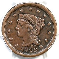 1846 N-3 R-2 Pcgs Vf Details Sm Date Braided Hair Large Cent Coin 1c