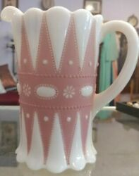 Very Rare Lacy Dew Drop Pitcher By Phoenix Consolidated Milk Glass Pink Stain