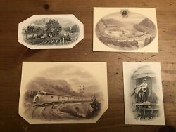 Old American Bank Note Company Vignettes Lot Of 4, Trains