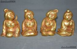 4old China Purple Copper 24k Gold Gilt Han Dynasty Palace Music Maid Statue Set