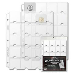 40 2x2 Coin Album Pages 20 Pocket Thumb Cut Safe Vinyl For 3 Rings Binders Bcw