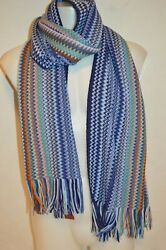 Missoni Man's Wool Blend Zig Zag Scarf New  Size 17in X 70 In Made In Italy