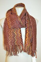 Missoni Man's Wool Blend Zig Zag Scarf New  Size 17 In X 70 In Made In Italy