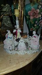 Dresden Porcelain Lace Figurines Music Group Lamp