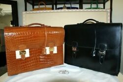 BNIB Hermes Sac à Depeche CROCODILE and BOX Leather 40cm Briefcase Set Rare