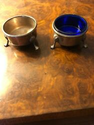 Antique Sterling Silver Pair Of Salt Dips - 1 Cobalt Liner- M. Fred Hirsch And Co.