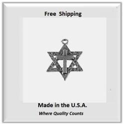 Messianic Star of David with Cross for Necklace Bracelet Silver Tone $4.95