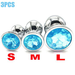 3pcsset Butt Toy Insert Plug Stainless Steel Metal Jeweled Plated Stopper Blue