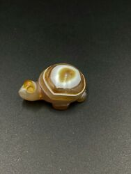Ancient Agate Turtle Figure Engraved Old Bead Central Asian Bead