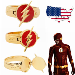 The Flash Ring Replica Superhero Gold&Red Ring Cosplay Costume Accessories Gift