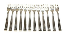 12 Buccellati Italy Sterling Silver Fish Forks In Rigato, Iss. 1970