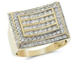 1.40ct Diamond 14kt Yellow Gold 3d Multi Row Square Pave Channel Menand039s Ring