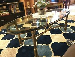 1920-50and039s Hollywood Regency Brass W/ Original 1 Beveled Glass Oval Coffee Table