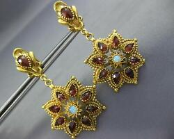 Antique Extra Large 18.0ct Aaa Garnet And Opal 18k Yellow Gold 3d Hanging Earrings