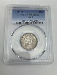 1917 D Type 1 Standing Liberty Quarter Pcgs Ms65fh Stock A2