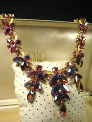 Rare Vintage Trifari Alfred Philippe Necklace Pink Glass/rs/rainbow/goldtone