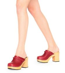 Swedish Hasbeens Shoes Laila Clog Red Leather Braided Mule Heel New Nib 40 24104