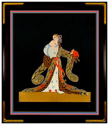 Erte Large Embossed Rigoletto Serigraph Signed Art Deco Bronze Sculpture Artwork