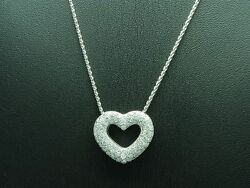 14kt 585 White Gold Chain And Heart Pendant With 077ct Brilliant Trim/ 91g/ 43cm