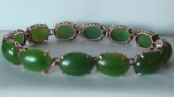Vintage Natural Green Jade 14k Solid Yellow Gold Bracelet 7.0and039and039 21.31 Gram.
