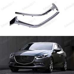 Front Lower Grille Molding Stripes Chrome Pair For Mazda 3 Axela 2017-2018