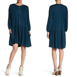 NWT Free People Beach Small Dropwaist Linen Blend Dress Long Sleeves Ruffle Blue $34.99