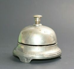 Mid 1800and039s Plated Spinner Bell Hotel Lobby Bell Service Desk Bell Antique Works