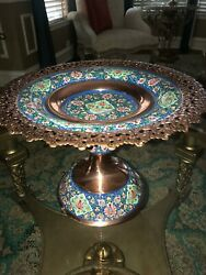 Persian Cookie Dish Khatam With Turquoise Stone And Copper By Master Mr Aghajani,