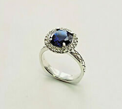 14 Kt White Gold Saphire Ring With Diamond Halo Size 8