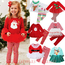 USA Christmas Toddler Kids Baby Girl Xmas Party Tutu Dress Outfits Clothes Gift