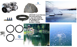New Fish And Lake Pond Aeration Kit 3 Diffusers 100' Tube Rock Cover 2yr Warranty