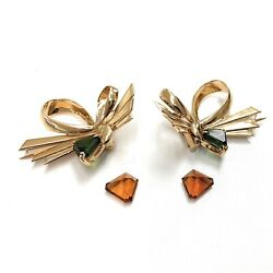 Vintage 1960's And Co. 14k Gold Green Tourmaline And Citrine Bow Brooch Set