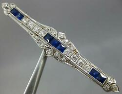 Antique Large 2.70ct Old Mine Diamond And Aaa Sapphire 14kt White Gold Brooch Pin