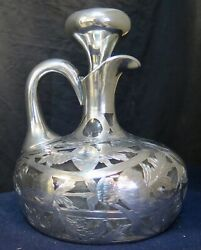 Vintage Early 20th Century Black Starr And Frost Sterling Silver Overlay Decanter