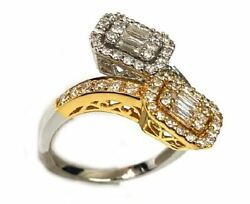 Estate 1.0ct Diamond 18kt 2 Tone Gold Round And Baguette Cluster Square Snake Ring
