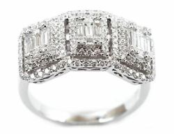 Estate Wide .92ct Diamond 18kt White Gold 3d Round And Baguette Anniversary Ring