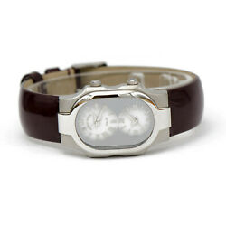 Philip Stein Signature Small Watch With Brown Patent Leather Strap