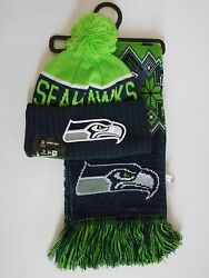 Seattle Seahawks 2015 New Era Sideline Knit Beanie And Ugly Sweater Scarf