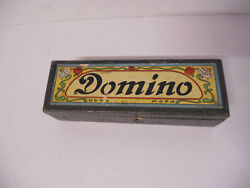 Antique Air Plane Dominoes Wood Box Large Wooden The Embossing Co Vintage