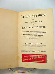 Rare Antique Jerry Thomas Bartenders Guide 1887 Dick And Fitzgerald Behrens Label