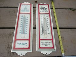 Vintage Advertising 2 Thermometers Sign Metal And Plastic Amish Country