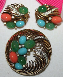 POPULAR CROWN TRIFARI SIGNED JEWELED PIN AND EARRING SET GOLD PLATED EXC-WOW...