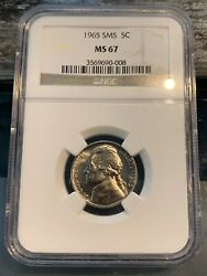 1965 Sms Jefferson Nickel Ngc Ms67 Free Shipping