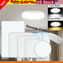 Dimmable LED Ceiling Light Ultra Thin Flush Mount Lamp Home Fixture remotecontro