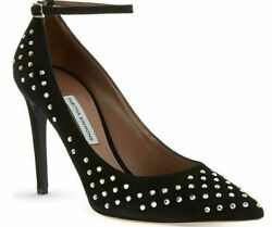 1095 New Tabitha Simmons Sable Ankle Strap Crystals Pumps Suede Black Shoes 41