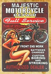 Majestic Motorcycle Pin-up Sexy Girl Metal Sign Tin Bar Signs Sale