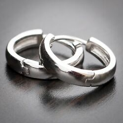 High Quality Solid 925 Sterling Silver Small Round Shape Hoop Earrings For Men