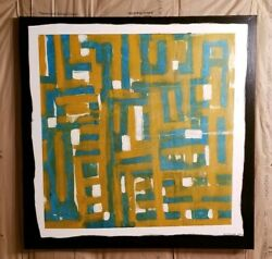 Abstract oil painting MCM ochre- blue Large 48x48 OOAK Shannon Stirling