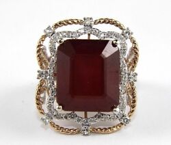 Emerald Cut Ruby And Diamond Solitaire Square Ring 14k White Gold 25.34ct